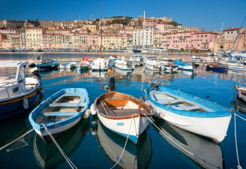 Rowboats tied at dock in Portoferraio, Isle of Elba, Tuscany